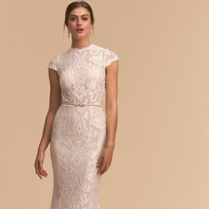 BHLDN Hastings wedding gown dress lace mermaid
